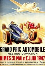 Art Poster Grand Prix 1947 French Ad Deco  Print