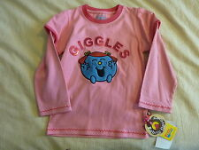 FABRIC FLAVOURS MR MEN LITTLE MISS GIGGLES LONG-SLEEVED T-SHIRT PINK SEQUIN BNWT