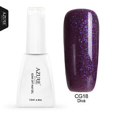 Azure UV/Led Glitter Art Color Gel Nail Polish Soak Off Free Postage 12ml CG18