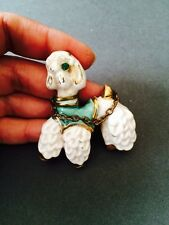 ART DECO POODLE DOG BROOCH PIN CERAMIC CHINA WHITE GOLD BRONZE BASE