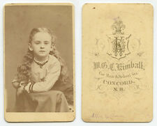 CDV STUDIO PORTRAIT GIRL NAMED ALICE GILLMORE? FROM CONCORD, NH, BY KIMBALL