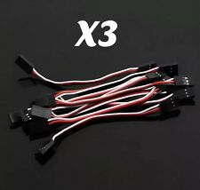 3X 10cm Male to Male JR Plug Servo Extension Leads Wires Cables
