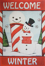 """Welcome Winter Snowman Embroidered House Flag Seasonal Yard Banner 28"""" x 40"""""""