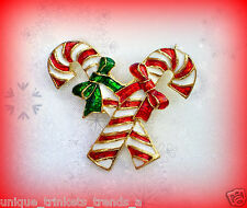 VINTAGE CHRISTMAS CANDY CANE PEPPERMINT STICK ENAMEL BOW GIFT PIN BROOCH~90S NOS