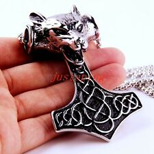 Wolf Head Hammer of Thor Pendant Silver 316L Stainless Steel Strong Men's Chain