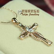 18K Rose Gold Plated Dazzling Cross Pendant Necklace W/ Swarovski Crystals