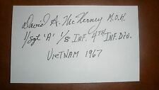 Autograph: David H. McNerney, US Army Medal of Honor Recipient Vietnam War MOH
