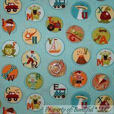 BonEful Fabric FQ Cotton Quilt Blue Stripe Alphabet Letter Baby Boy Dot Picture