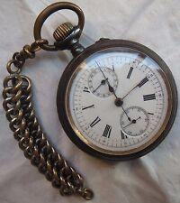 XFine Chronograph Chronometer Pocket Watch open face gun case 54,5 mm. in diam.