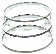Steel by Design Set of 3  Crystal Accents Bangles Bracelet '