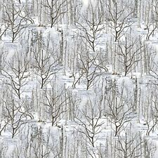 Gray Winter Forest By the yard cotton print fabric The Great North Wilderness