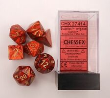 Chessex Polyhedral 7 Die Scarab Scarlet Red w/ Gold Numbers Dice Set 7 CHX 27414