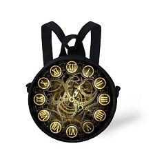 vintage Reto Clock Novelty School Rucksack Backpack Messenger Sling Bag Toddler