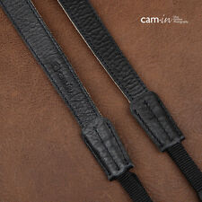 Black & White Leather adjustable DSLR Camera Strap with tapered ends by Cam-in