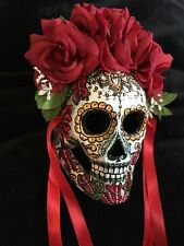 Day Of The Dead Mask Dia De Los Muertos Red Silk Roses Tattoo Art Mandala