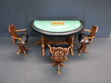 DOLLHOUSE / ROOM BOX BESPAQ GRANDE CASINO BLACK JACK TABLE WITH 3 CHAIRS