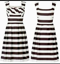 BNWT Phase Eight /8 Sable/ Ivory Eton Stripe Drrss Size 8