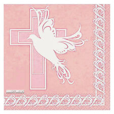 "Baptism or Communion Pink Dove Cross Lunch Napkins 13"" x 13"" 16 ct"