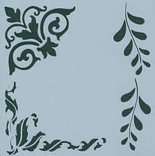 """CORNERS & BORDER REUSEABLE STENCIL - APPROX 6"""" x 6"""""""