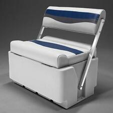 Flip Flop Pontoon Boat Seat In Gray, Blue and Charcoal
