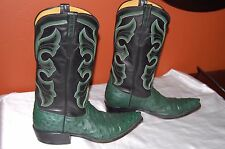 Rios of Mercedes  Full Quill Ostrich  boots, black/Dark Green color size 9.5