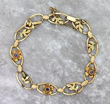 Ladies Antique Victorian 14K 585 Sapphire Yellow Gold Floral Leaf Chain Bracelet