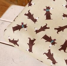 Beige dogs 100% Cotton Remnant  fabric 110 x 22.5 cm Quilting fabric off cut