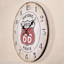 Route 66 Rond Shabby Chic Horloge Murale Motif Bois Déco Montre Horloge Murale
