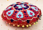 """16"""" INDIAN ROUND CUSHION PILLOW ETHNIC THROW COVER SUZANI Embroidery Decor Art"""