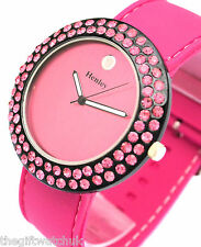 Henley Ladies Sparkly Crystals Diamante Watch with Pink Jelly Strap, GIFT BOXED