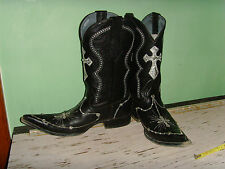 Rhinestones & Cross Black Boots Western Cowboy Blue Label Mens 8.5 point toe