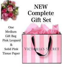 Victoria's Secret (1) MEDIUM GIFT BAG PINK & BLACK & LEOPARD & PINK TISSUE PAPER
