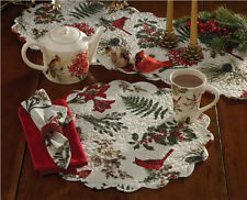 Nature Sings ~ Christmas Cardinals & Holly Quilted Round Placemat