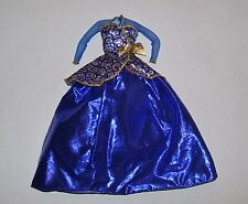 MATTEL BARBIE BLUE & GOLD DRESS OUTFIT CLOTHES FITS SILKSTONE TOO
