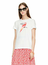 NEW KATE SPADE Broome Street $68 Talk The Talk Parrot Tee Shirt Top white XL
