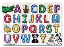 Melissa and Doug Wood Peg Puzzles for 3+ Toddlers - See-Inside Alphabet # 3272