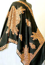 Kashmir Embroidered Shawl Tan Crewel Embroidery on Black Wool Stole Pashmina