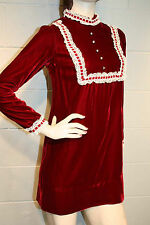 XS~S Petite Deep Red Velvet Lace Rhinestones Vtg 60s Edwardian Mini Party Dress