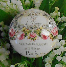 FRENCH PARIS WORDS ROSES Ceramic KNOB Cabinet Drawer Pull Room Office Kitchen