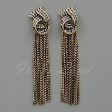 Antique Gold Tone Clear Crystal Rhinestone Chain Drop Dangle Earrings 08848 New