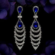 Rhodium Plated Blue Crystal Rhinestone Wedding Long Drop Dangle Earrings 08690