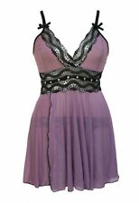 Sexy purple plus size lingerie new womens babydoll chemise set XXL