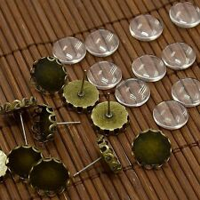 10sets Brass Ear Stud Tray Cabochon Setting Dome Glass Cabochons DIY Earrings