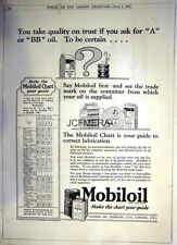 Vintage 1927 MOBILOIL Motor Car 'A' & 'BB' Oils Ad - Original Print Advert