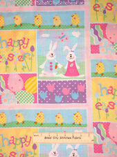 Easter Fabric - Easter Bunny Chick Tulip Spring Eggs Patchwork Design - Yard