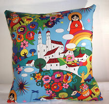 NEW RETRO RELIGIOUS 'ZOCALO'  CUSHION COVER 16''x16'' MADE LOVINGLY IN THE UK