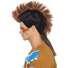 Mens Indian Male Mohican Wig Brown Fancy Dress Mohawk Cowboys Last of the Hair