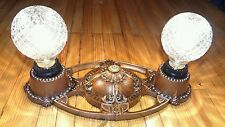 Antique Victorian ornate cast iron 2 bulb flush mount ceiling light fixture