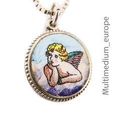 Jugendstil Silber Anhänger Engel Emaille m Kette silver pendant angel enamel 800