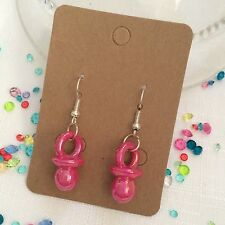 Baby Girl Pink Dummy Novelty Shower Birth Earrings Dummies ��